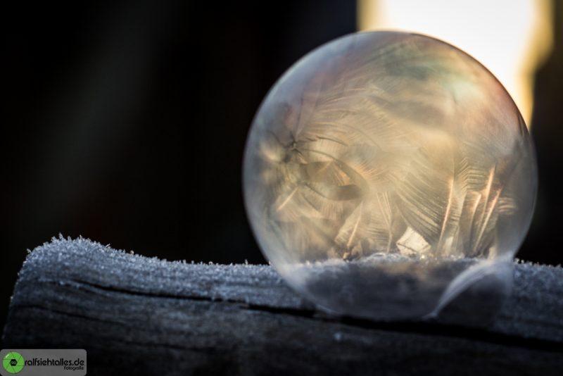 gefrorene Seifenblasen auf dem Spatenstiel